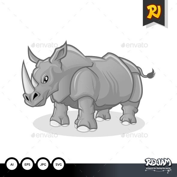 GraphicRiver Rhinoceros Cartoon 10564242