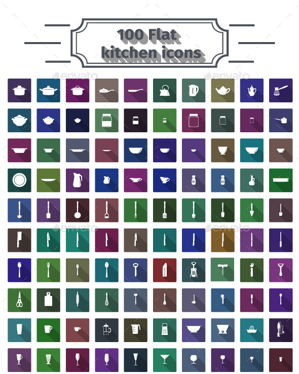 GraphicRiver 100 Flat Kitchen Icons 10564251