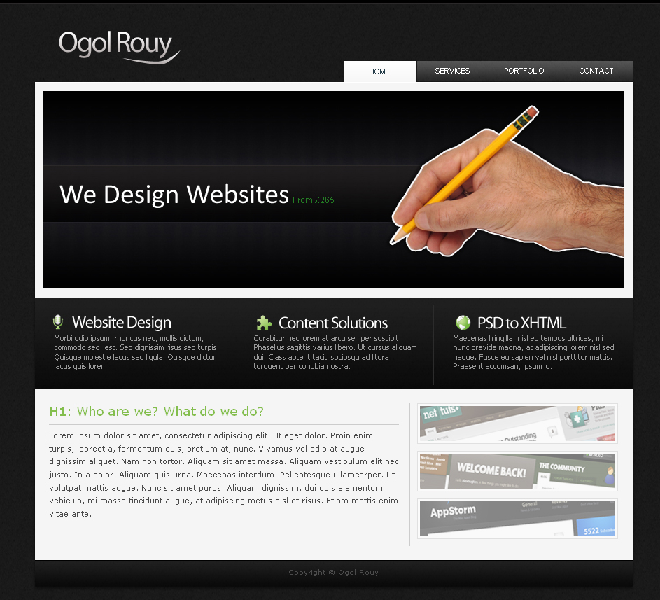 Ogol Rouy - Dark Business Layout - 1_homepage  Homepage with big space for promo banners which is powered by a  jquery fade rotating system. Followed by 3 service box areas then a content area to introduce the site along with some portfolio  options.