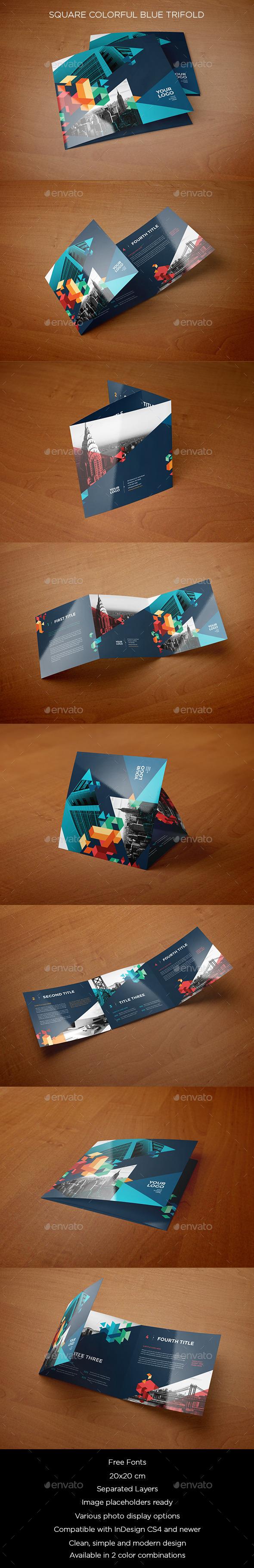 GraphicRiver Square Colorful Blue Trifold 10564467
