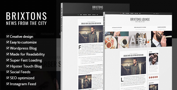 ThemeForest Brixton Minimal & Personal WordPress Blog Theme 10309865