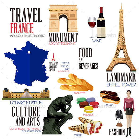 GraphicRiver Infographic Elements for Traveling to France 10565443