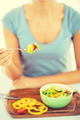 woman hand holding fork with vegetables - PhotoDune Item for Sale