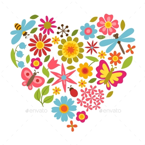 GraphicRiver Flower Heart 10565770