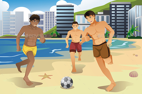 GraphicRiver Men Playing Soccer on the Beach 10567171