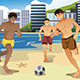 Men Playing Soccer on the Beach  - GraphicRiver Item for Sale