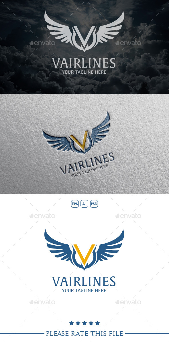 GraphicRiver V Wings Logo 10567599