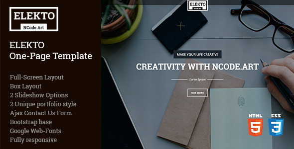 ThemeForest Elekto One Page Template 10510264