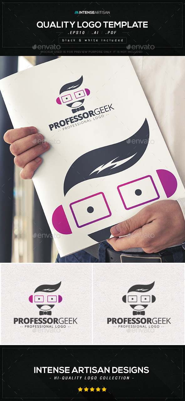GraphicRiver Professor Geek Logo Template 10568554
