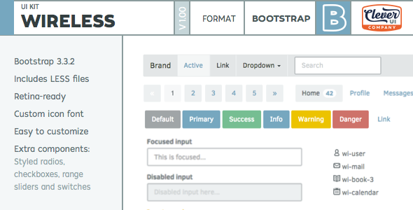 CodeCanyon Wireless- Minimalist Bootstrap UI Kit 10498551