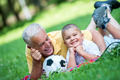 grandfather and child have fun  in park - PhotoDune Item for Sale
