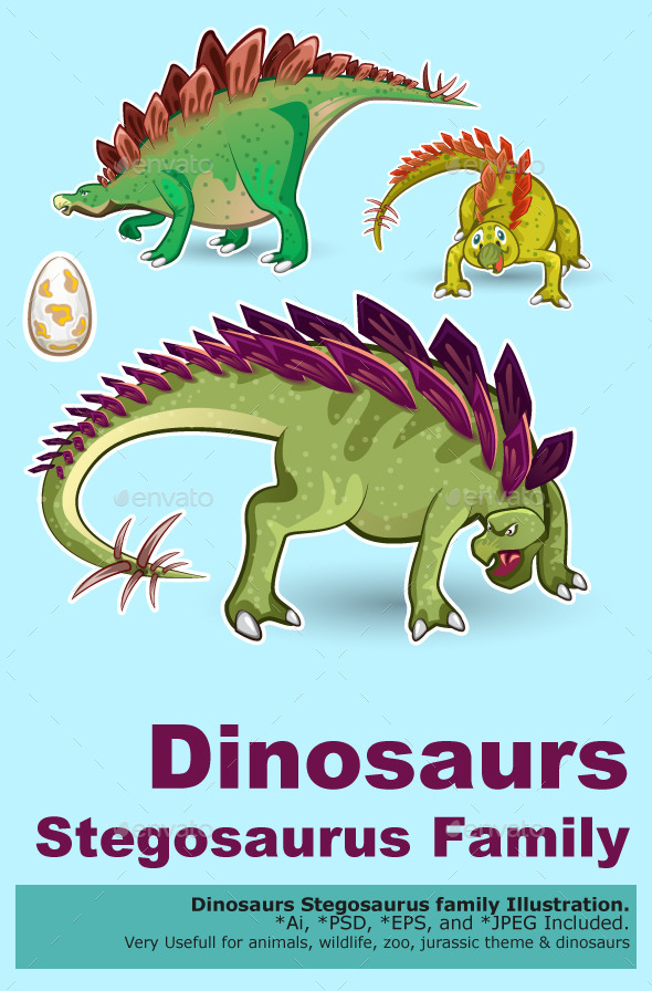 GraphicRiver Stegosaurus Dinosaurs Sticker Collection Set 10570246