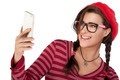 Happy Cool Woman Taking Selfie Using Mobile Phone - PhotoDune Item for Sale