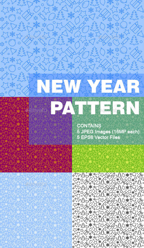 GraphicRiver New Year Pattern Background 10572852