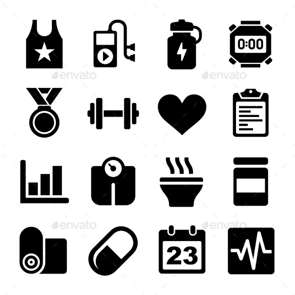 GraphicRiver Fitness and Health Icons Set 10572994
