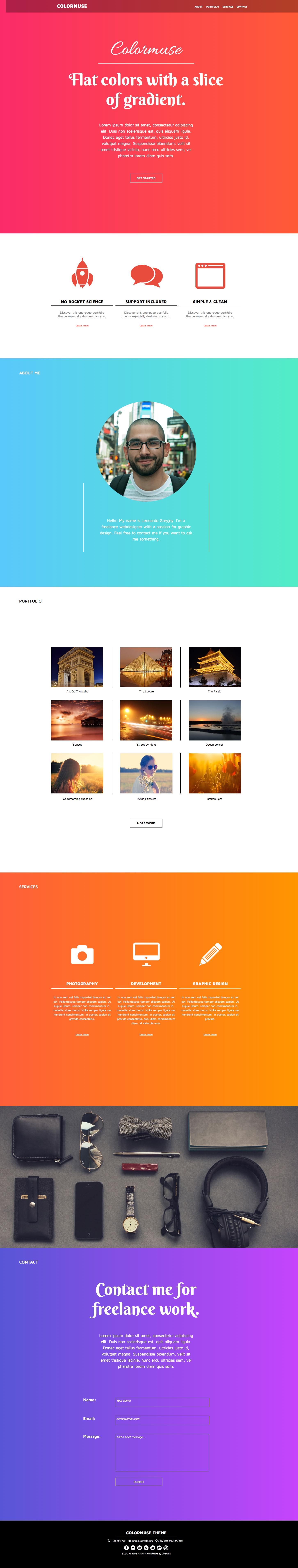 Colormuse - One Page Portfolio Muse Template