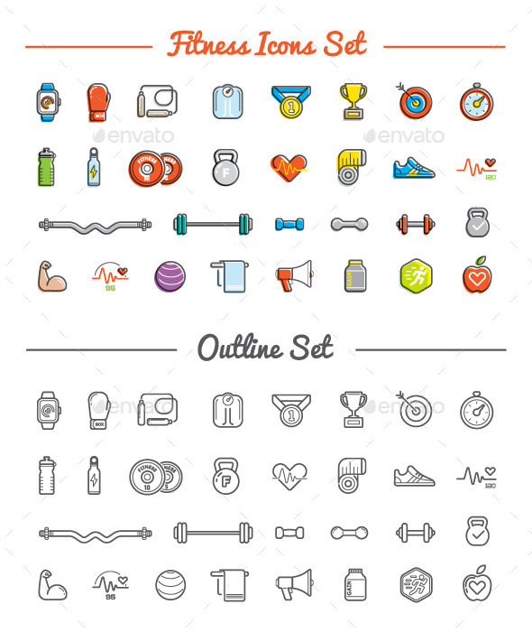 GraphicRiver Great 30&30 Vector Fitness Gym Icons Set 10573197