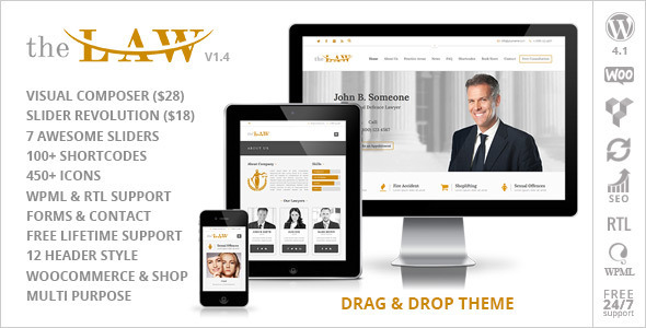 The Law Lawyer Legal Attorney Responsive Wp Theme