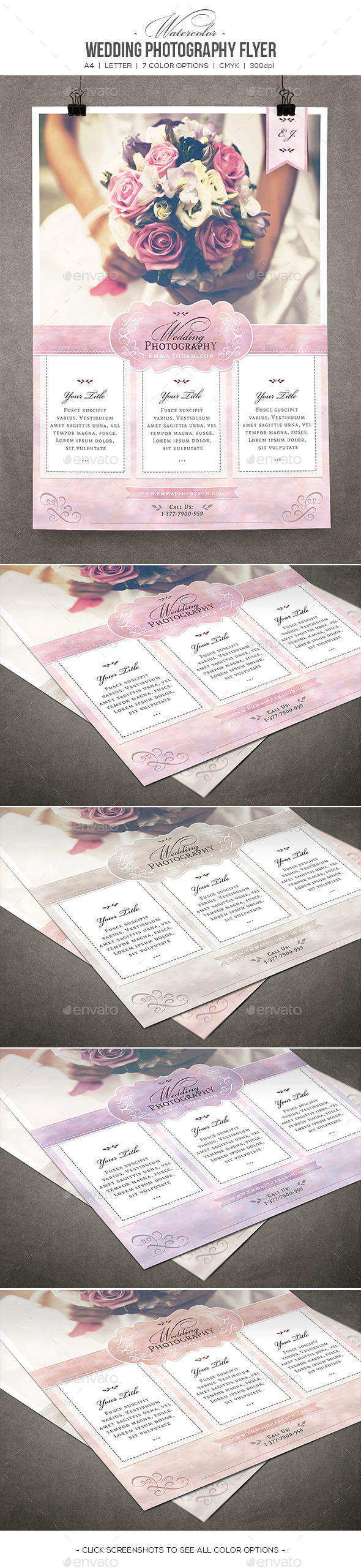 GraphicRiver Watercolor Wedding Photography Flyer 10573483