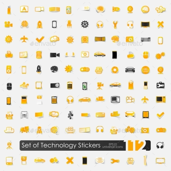 GraphicRiver Set of Technology Stickers 10573756