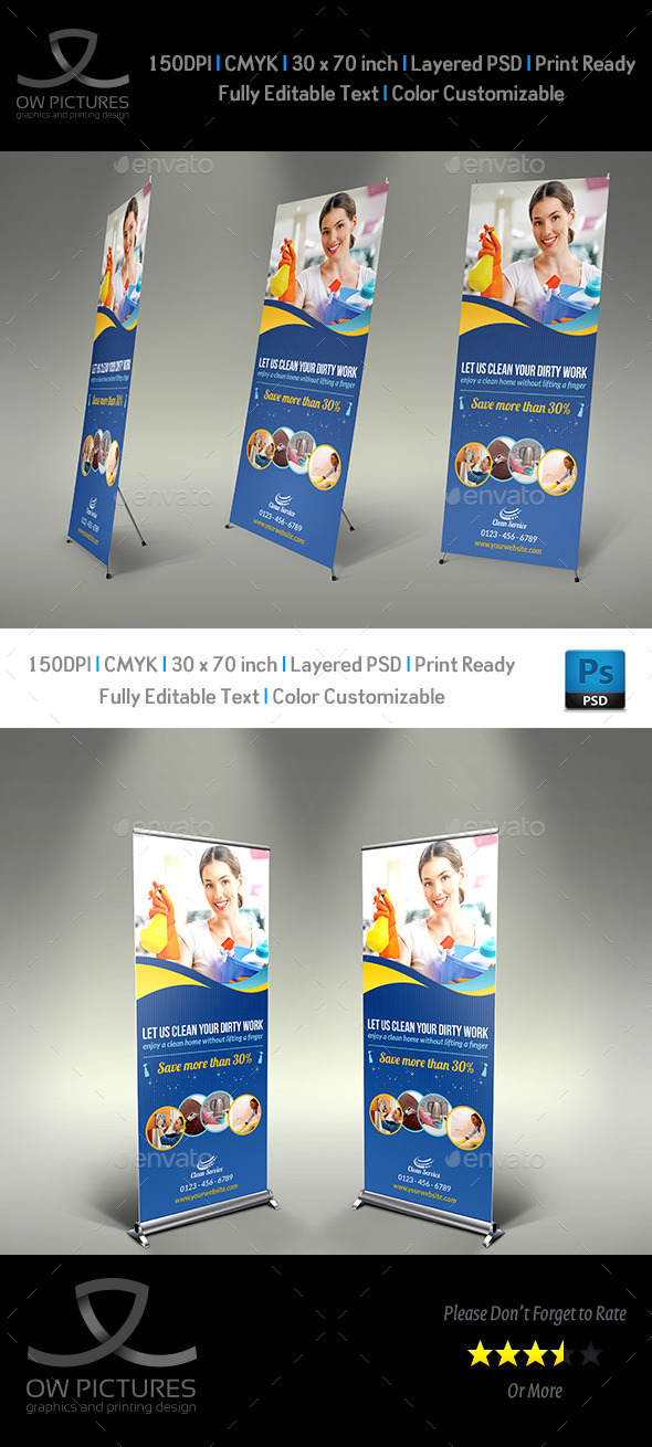 GraphicRiver Cleaning Services Signage Roll Up Template Vol.2 10573783