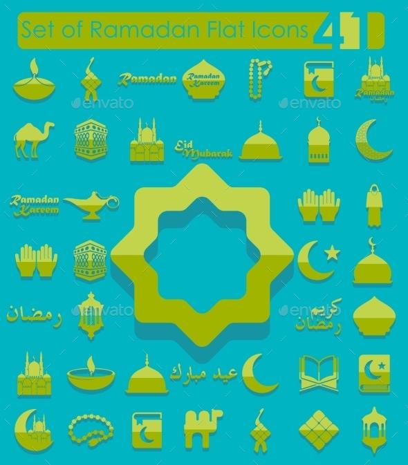 GraphicRiver Set of Ramadan Flat Icons 10574390