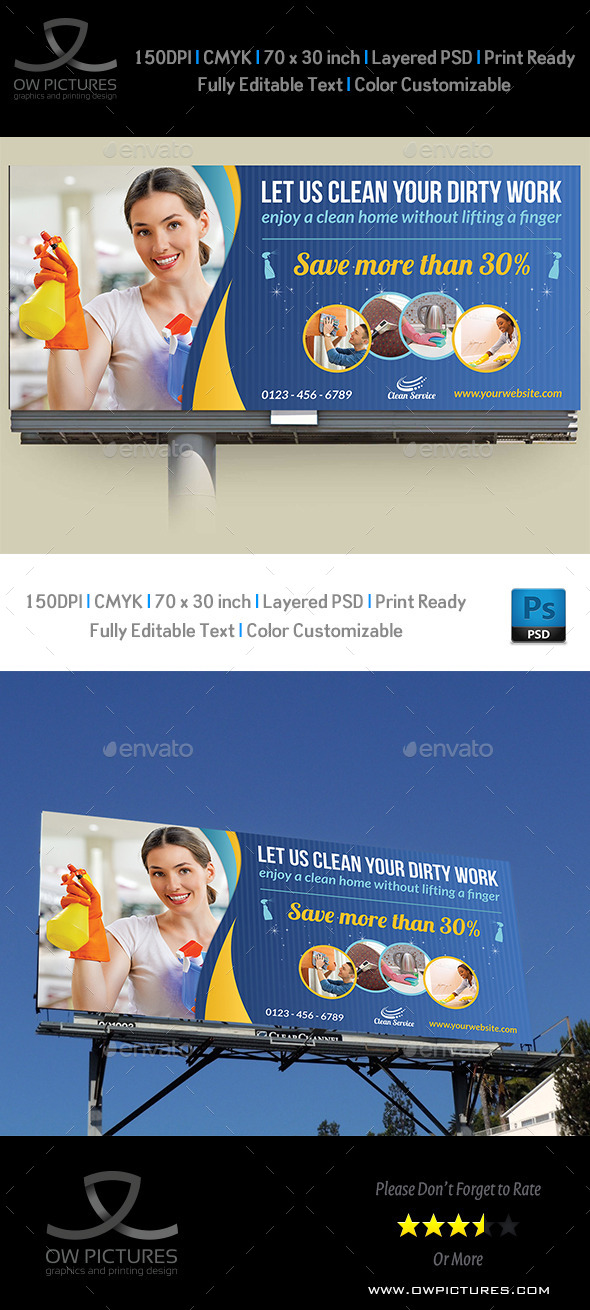 GraphicRiver Cleaning Services Billboard Template Vol.2 10574512
