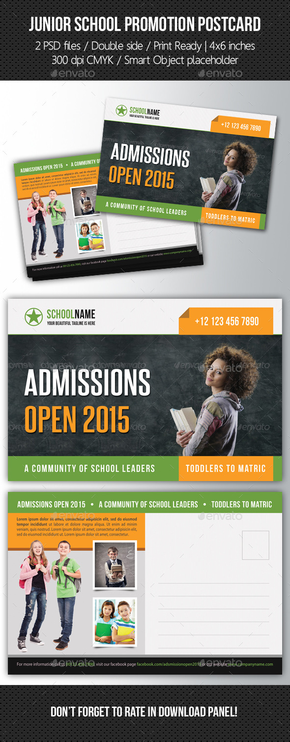 GraphicRiver Junior School Promotion Postcard 05 10574576