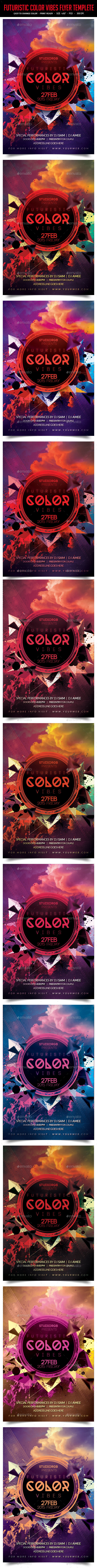GraphicRiver Futuristic Color Vibes Flyer Template 10520521