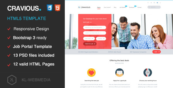 ThemeForest Cravious Job Portal HTML5 Template 10470019