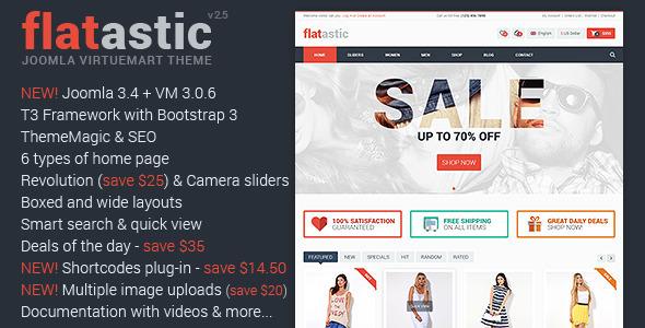 Flatastic Responsive Multipurpose VirtueMart Theme - Retail Joomla