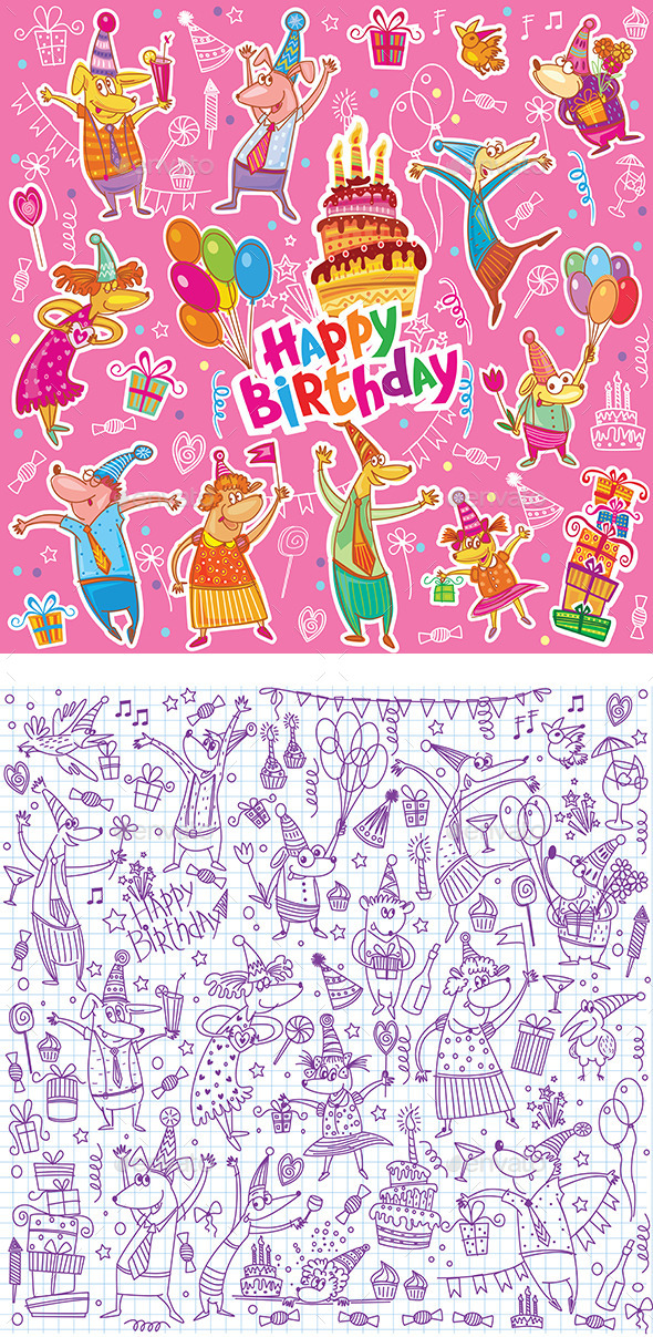 GraphicRiver Birthday Sketch Set 10575064