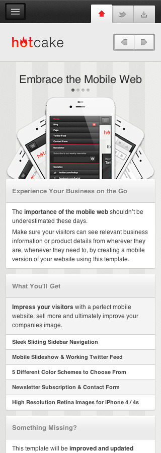 HotCake — Mobile Business HTML Template - Homepage with slideshow and sample contents.