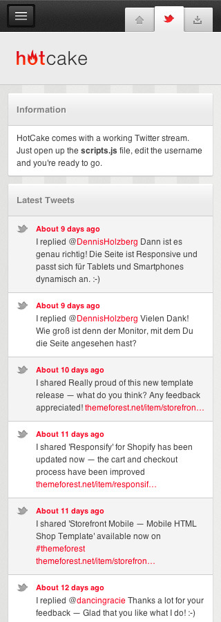 HotCake — Mobile Business HTML Template - Working Twitter feed.