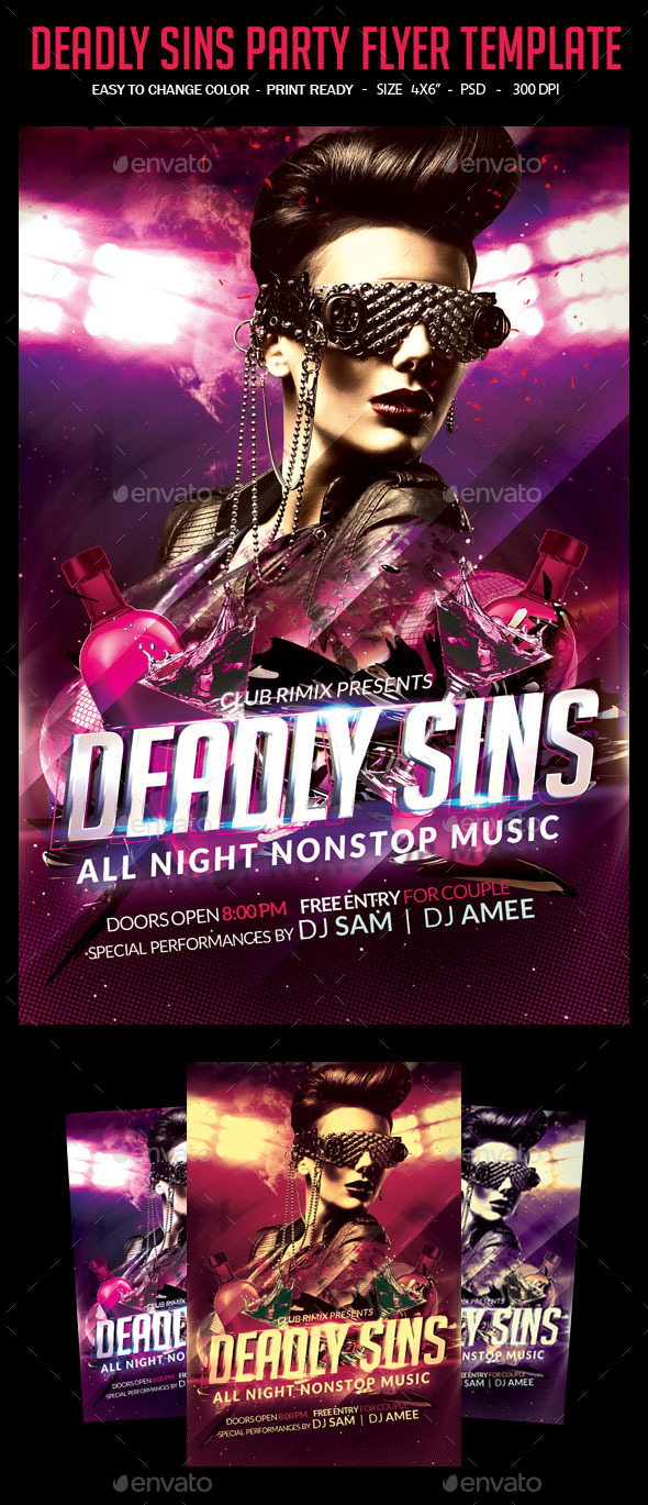 GraphicRiver Deadly Sins Party Flyer Template 10575112