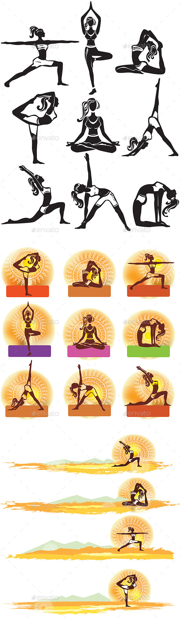 GraphicRiver Set of Meditating and Doing Yoga Poses 10575157