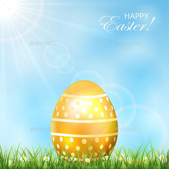 GraphicRiver Golden Easter Egg in Grass 10575779