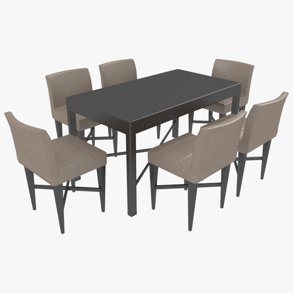 3DOcean Dining Table With Chairs-7 10575899