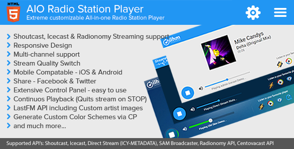 CodeCanyon AIO Radio Station Player Shoutcast and Icecast 10576010