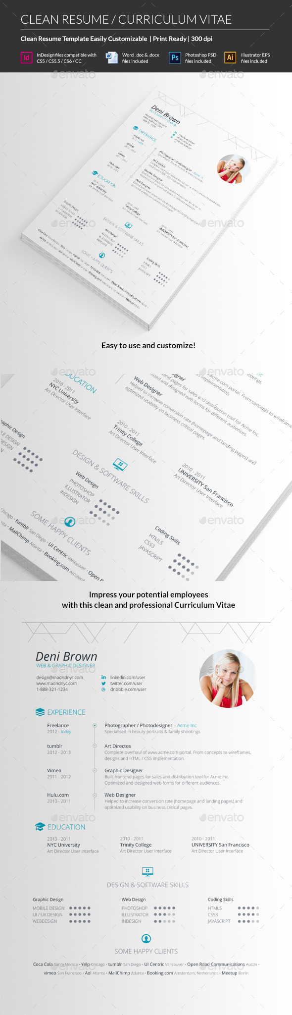 GraphicRiver Clean Resume CV 10576243