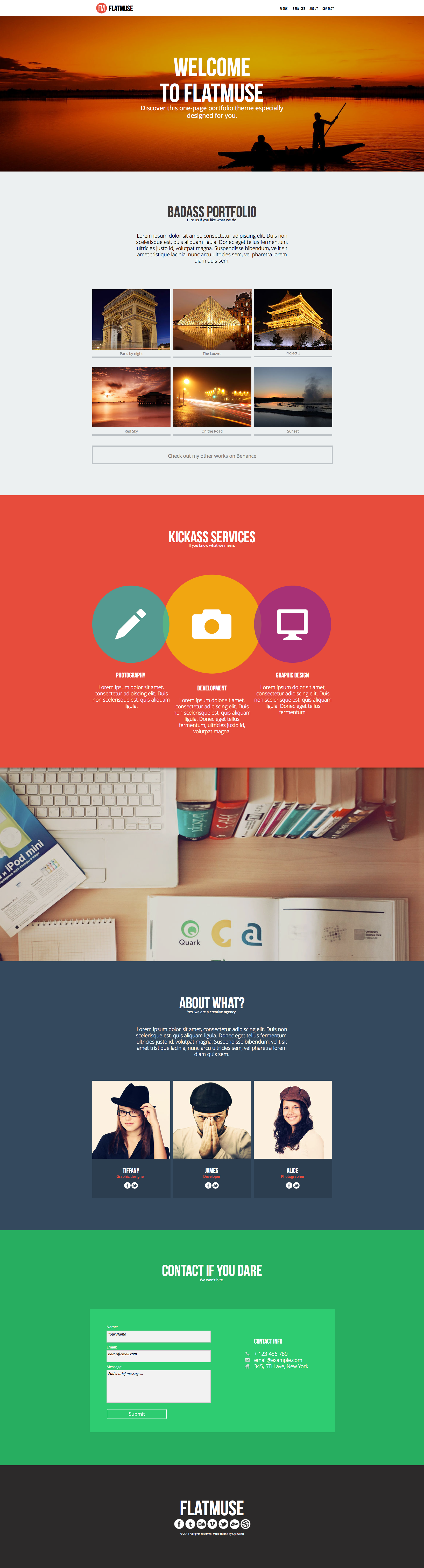 Flatmuse - One Page Muse Template