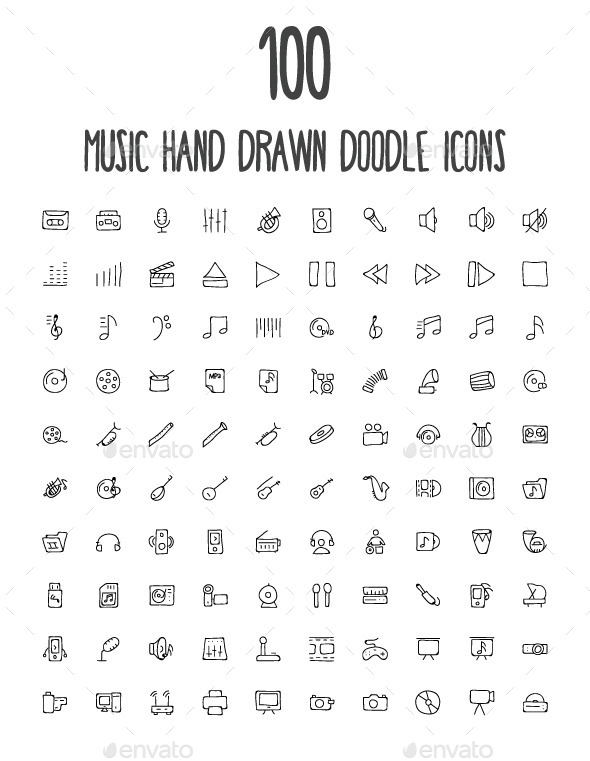 GraphicRiver 100 Music Hand Drawn Doodle Icons 10576411