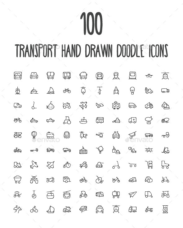 GraphicRiver 100 Transport Hand Drawn Doodle Icon 10576534