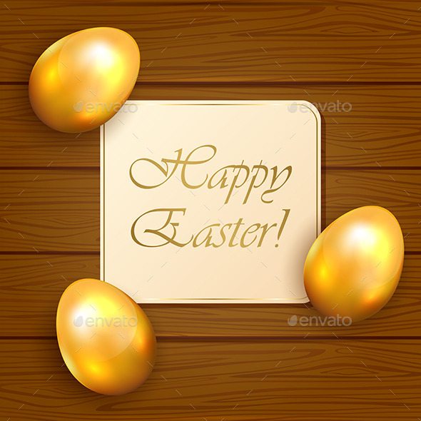 GraphicRiver Easter Card and Eggs on Wooden Background 10576535