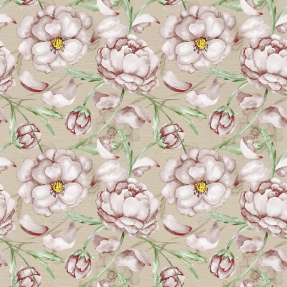 GraphicRiver Vintage Pattern with Peony 10576587