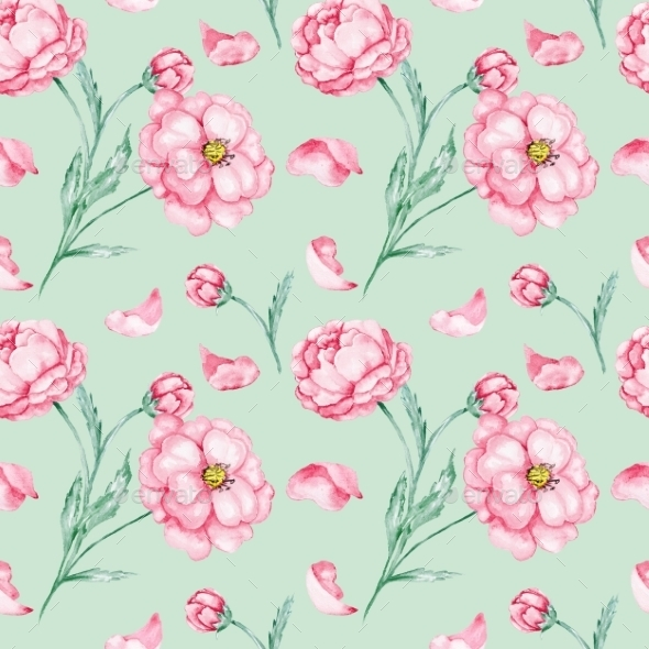 GraphicRiver Watercolor Pattern with Red Flowers 10576597