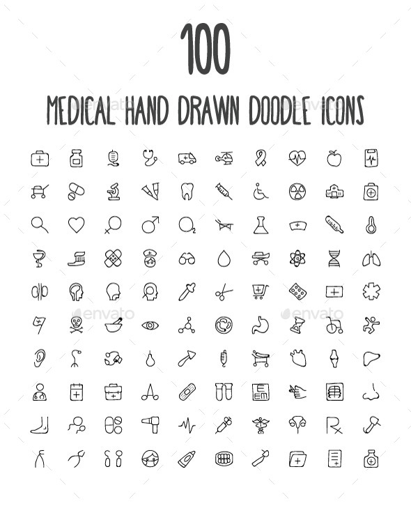 GraphicRiver 100 Medical Hand Drawn Doodle Icons 10576624