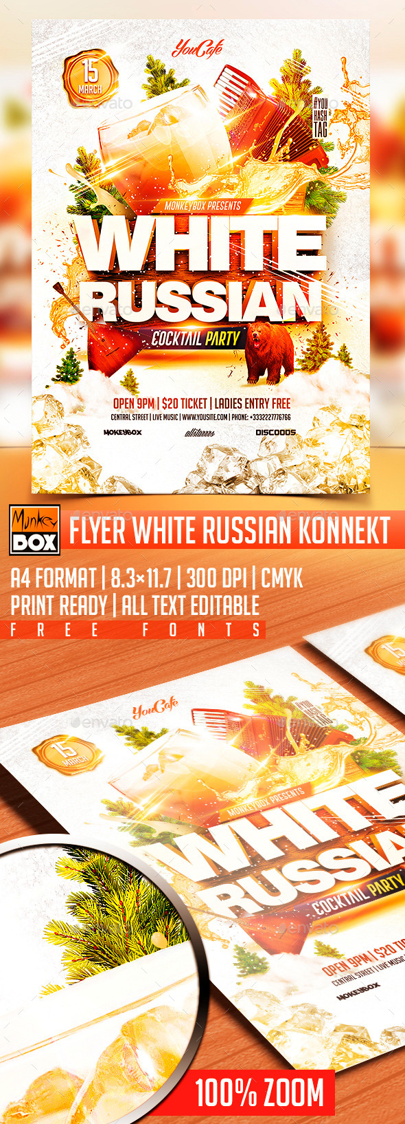 GraphicRiver Flyer White Russian Konnekt 10576645