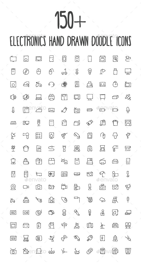 GraphicRiver 150& Electronics Hand Drawn Icons 10576647
