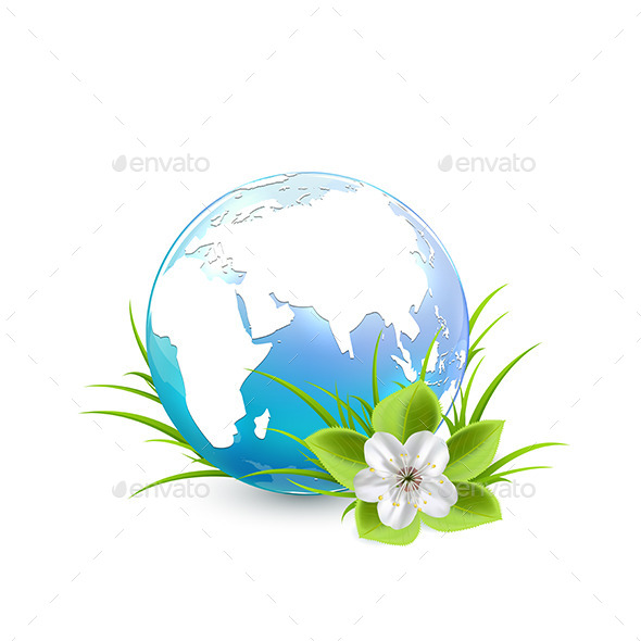 GraphicRiver Blue Earth Globe with Flower 10577458